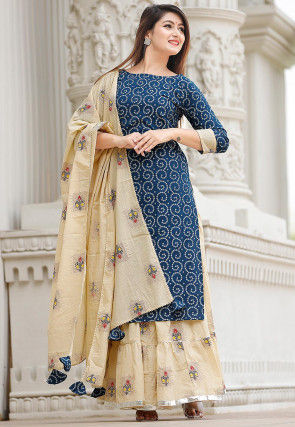 Bandhej Printed Cotton Lehenga in Blue