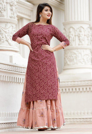Bandhej Printed Cotton Lehenga in Wine