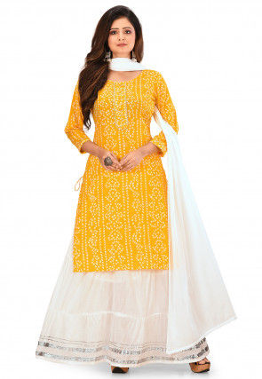 Bandhej Printed Cotton Lehenga in Yellow