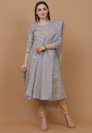 Bandhej Printed Cotton Pakistani Suit in Light Grey