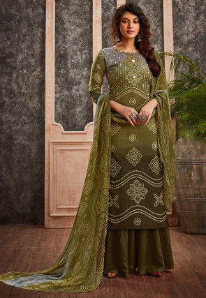 Bandhej Printed Cotton Pakistani Suit in Olive Green