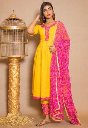 Bandhej Printed Cotton Pakistani Suit in Yellow