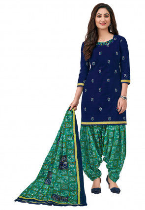Bandhej Printed Cotton Punjabi Suit in Navy Blue