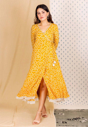 Bandhej Printed Cotton Rayon Angrakha Style Kurta in Mustard