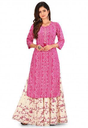 Bandhej Printed Cotton Rayon Kurta in Pink