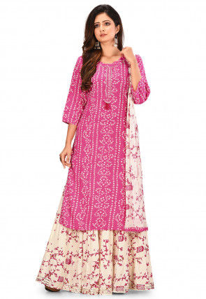 Bandhej Printed Cotton Rayon Lehenga in Pink