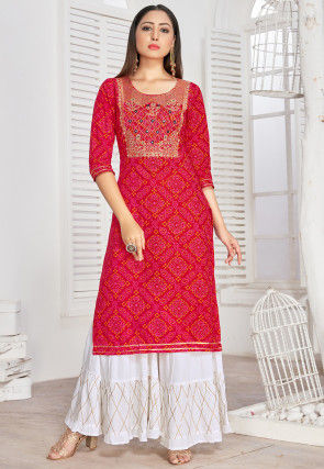 Bandhej Printed Cotton Rayon Straight Kurta Set in Red