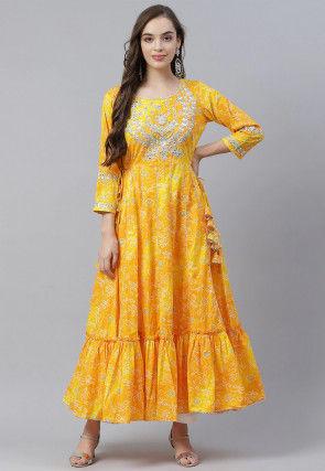 Bandhej Printed Cotton Ruffled Hemline Kurta in Yellow