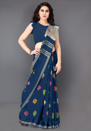 Bandhej Printed Cotton Saree in Dark Blue