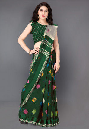 Bandhej Printed Cotton Saree in Dark Green