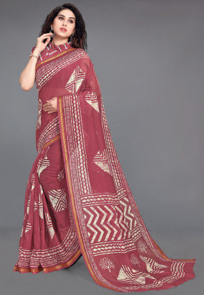Bandhej Printed Cotton Saree in Dusty Red