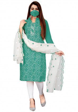 Bandhej Printed Cotton Slub Pakistani Suit in Teal Green