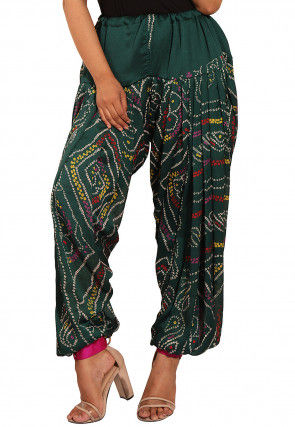 Bandhej Printed Crepe Alladin Pant in Dark Green