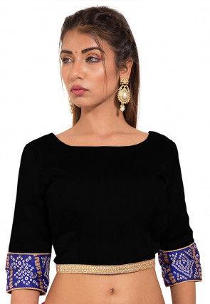 Bandhej Printed Crepe Blouse in Black