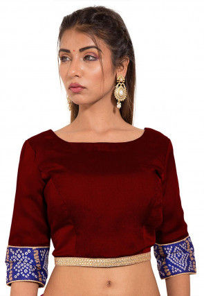 Bandhej Printed Crepe Blouse in Maroon