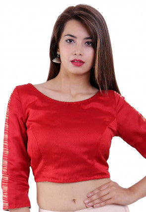 Bandhej Printed Crepe Blouse in Red