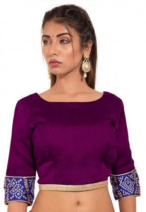Bandhej Printed Crepe Blouse in Violet