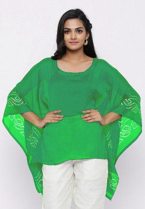 Bandhej Printed Crepe Kaftan Style Top in Green