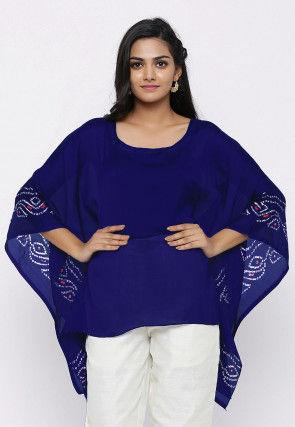 Bandhej Printed Crepe Kaftan Style Top in Navy Blue