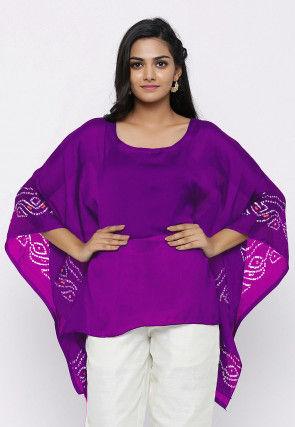 Bandhej Printed Crepe Kaftan Style Top in Purple