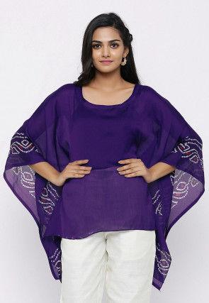 Bandhej Printed Crepe Kaftan Style Top in Violet