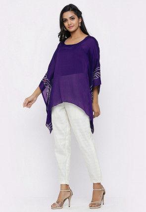 Bandhej Printed Crepe Kaftan Style Top Set in Violet