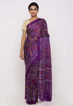 Bandhej Printed Crepe Saree in Purple