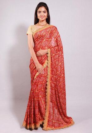 Bandhej Printed Crepe Saree in Red