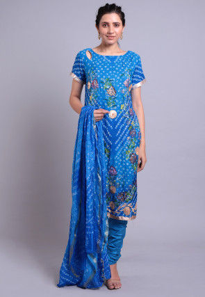 Bandhej Printed Crepe Straight Suit in Blue