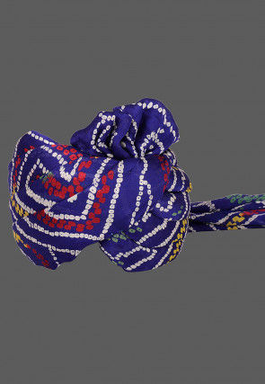 Bandhej Printed Crepe Kids Turban in Royal Blue