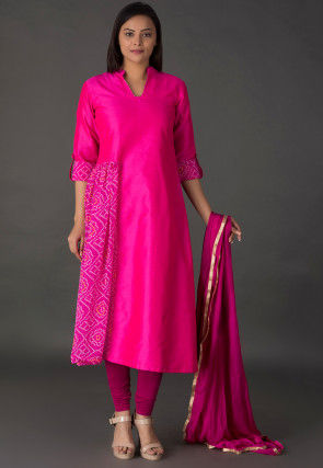 Bandhej Printed Dupion Silk A Line Suit in Fuchsia