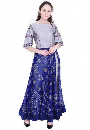 Bandhej Printed Chinon Crepe Abaya Style Kurta in Blue and Grey