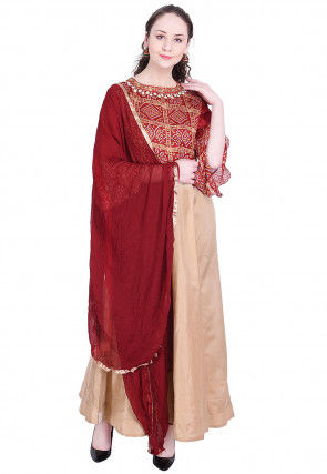 Bandhej Printed Dupion Silk Abaya Style Suit in Beige and Maroon