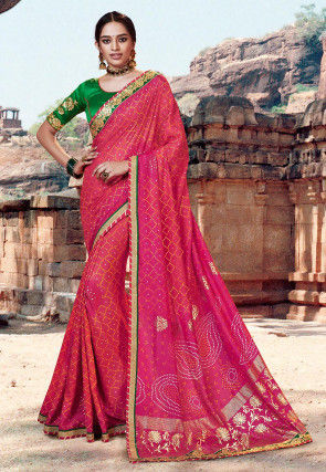 Bandhej Printed Dupion Silk Saree in Fuchsia