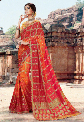 Bandhej Printed Dupion Silk Saree in Orange and Red