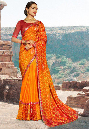 Bandhej Printed Dupion Silk Saree in Orange