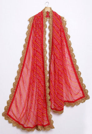 Bandhej Printed Georgette Scalloped Dupatta in Red