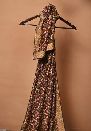 Bandhej Printed Gadwal Silk Dupatta in Maroon