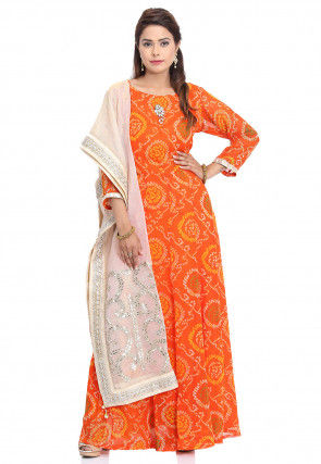 Bandhej Printed Georgette Abaya Style Suit in Orange