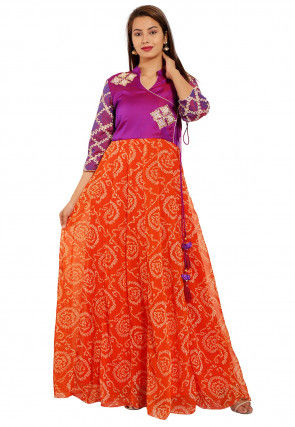 Bandhej Printed Georgette Gown in Orange and Purple
