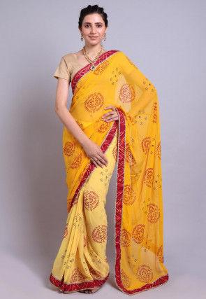 Bandhej Printed Georgette Half N Half Saree in Yellow