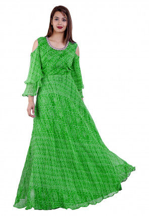 Bandhej Printed Georgette Maxi Dress in Green