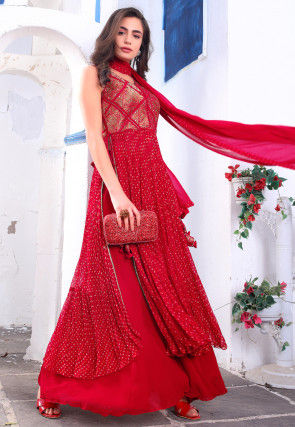 Bandhej Printed Georgette Pakistani Suit in Red