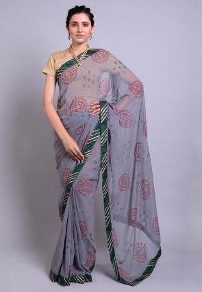 Bandhej Printed Georgette Saree in Grey