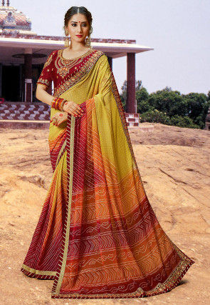 Bandhej Printed Georgette Saree in Light Olive Green and Maroon
