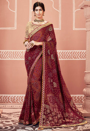 Bandhej Printed Georgette Saree in Maroon