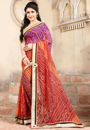 Bandhej Printed Georgette Saree in Multicolor