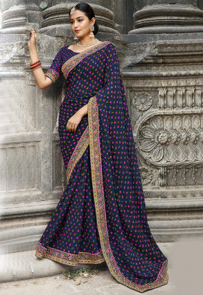 Bandhej Printed Georgette Saree in Navy Blue