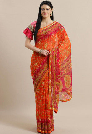 Bandhej Printed Georgette Saree in Orange and Pink