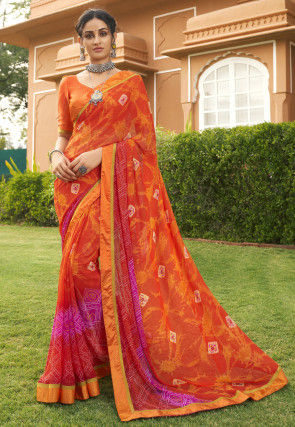 Bandhej Printed Georgette Saree in Orange